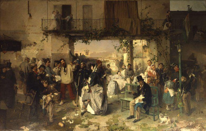 Domenico Induno, Die Kundmachung vom 14. Juli 1859, die den Frieden von Villafranca verkündete, 1862 (Milano, Museo del Risorgimento).