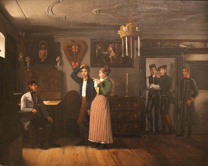 Michael Neder, Vor dem Dorfrichter, um 1830m Privatbesitz, Foto: Alexandra Matzner.