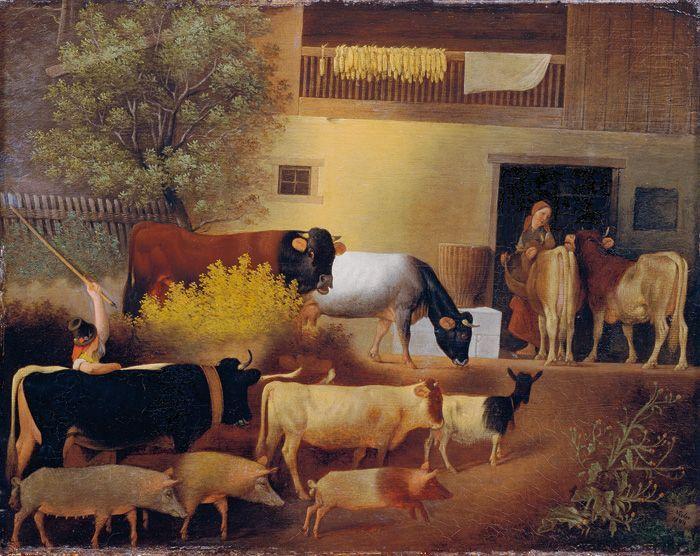 Michael Neder, Heimkehr der Herde, 1844, Öl auf Holz, 41,5 x 52 cm © Belvedere, Wien.