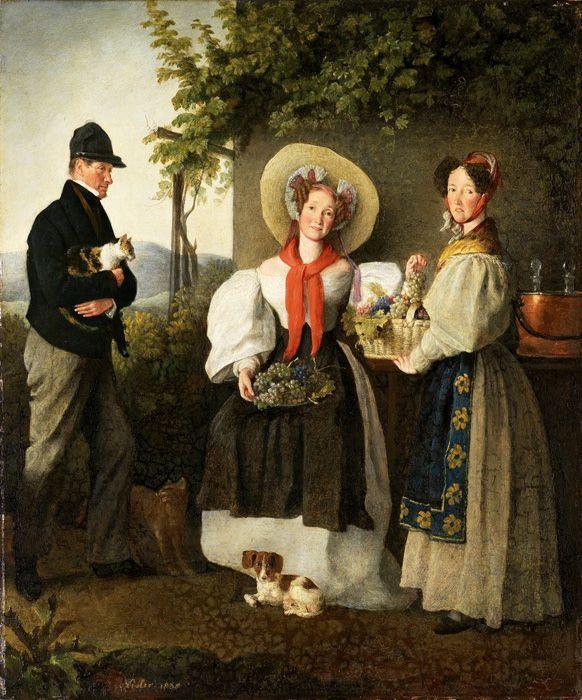 Michael Neder, Anton Jäger mit seiner Frau Dorothea, geb. Freiin von Riefel, und Wirtschafterin, 1838, Öl auf Holz, 31,3 x 26 cm © Privatbesitz, Foto © Belvedere, Wien.