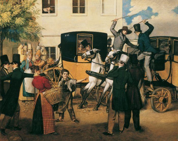 Michael Neder, Der Kutscherstreit, 1828, Öl auf Leinwand, 58 x 71,5 cm © Belvedere, Wien.