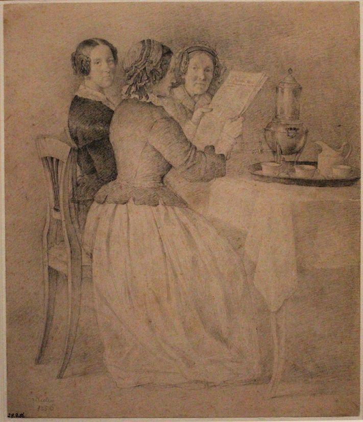 """Michael Neder, Drei Frauen beim Kaffeetisch, Studie zu """"Familie Jäger und Franziskanermönche bei der Jause"""", 1856, Bleistift, Albertina, Wien, Foto: Alexandra Matzner."""