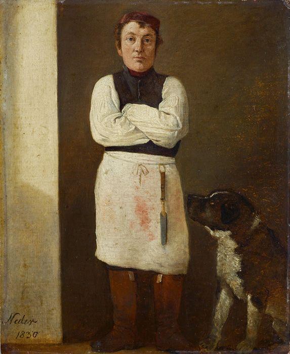 Michael Neder, Der Fleischhauer mit Hund, 1830, Öl auf Malkarton, 24,5 x 20 cm © Leopold Museum-Privatstiftung, Wien.