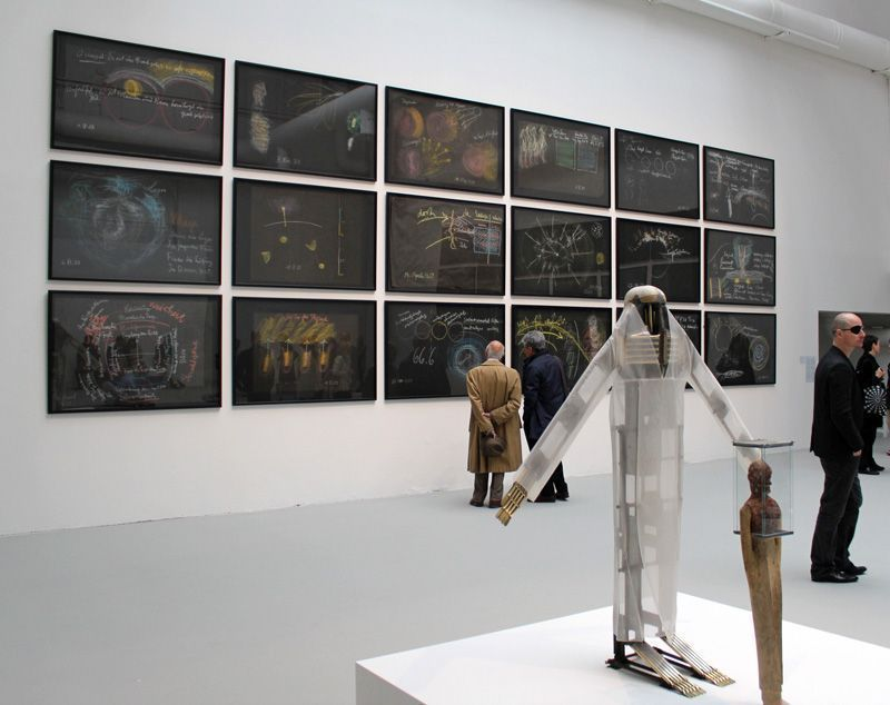 Rudolf Steiner (1861-1925), verschiedene Tafelzeichnungen, Installationsfoto: Alexandra Matzner.
