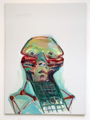 Maria Lassnig, Sprachgitter, 1999, Installationsfoto: Alexandra Matzner.