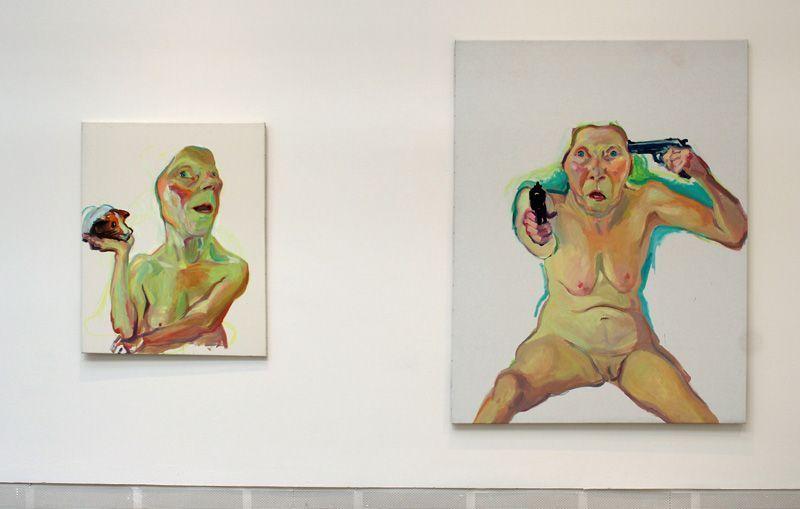 Maria Lassnig (* 1919), Selbst mit Meerscheinchen, 2000 und Du oder Ich, 2005, Installationsfoto: Alexandra Matzner.