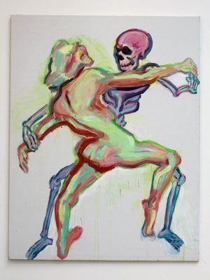 Maria Lassnig (* 1919), Der Tod und das Mädchen, 1999, Installationsfoto: Alexandra Matzner.