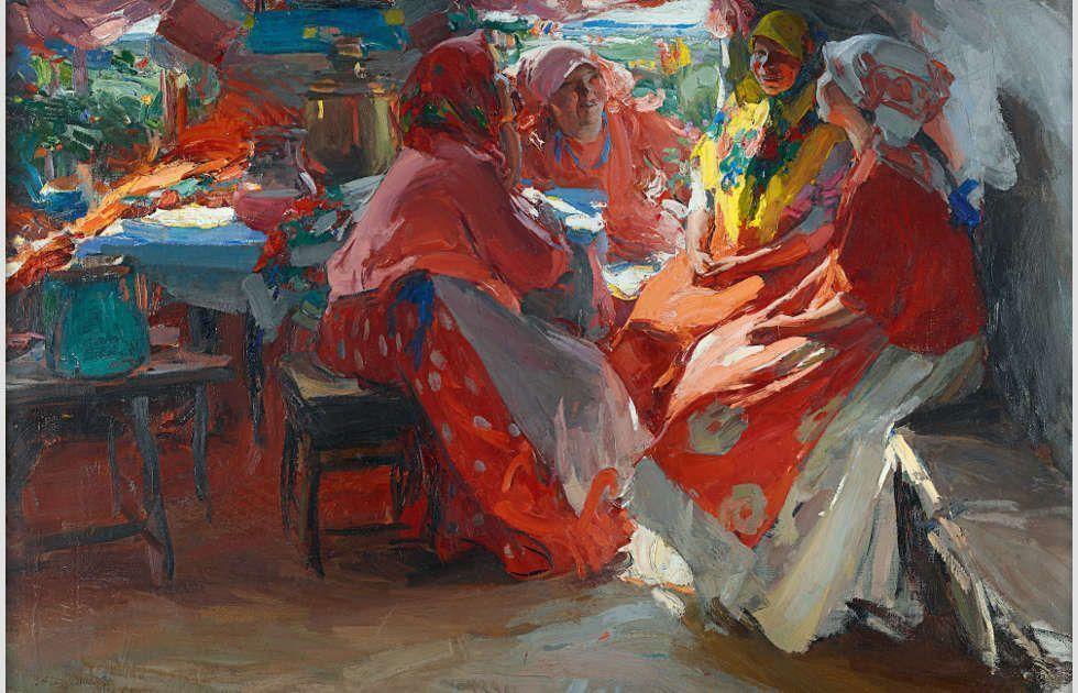 Abram Archipow, Besuch, 1914, Öl auf Leinwand, 97,7 x 150 cm (Staatliche Tretjakow-Galerie, Moskau)