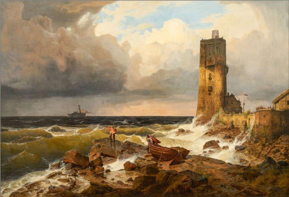 Andreas Achenbach, Große Marine mit Leuchtturm, 1836, Öl auf Leinwand (Privatsammlung © Museum LA8 Baden-Baden)