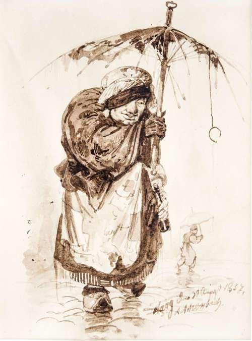 Andreas Achenbach, Alte Holländerin im Regen, Haag, 1837, Tusche in Braun (Privatsammlung © Museum LA8 Baden-Baden)