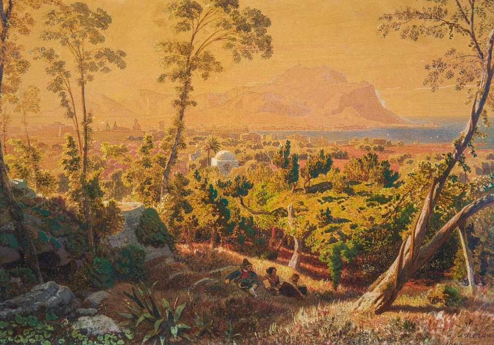 Andreas Achenbach, Palermo, 1846, Aquarell über Bleistift (Privatsammlung © Museum LA8 Baden-Baden)