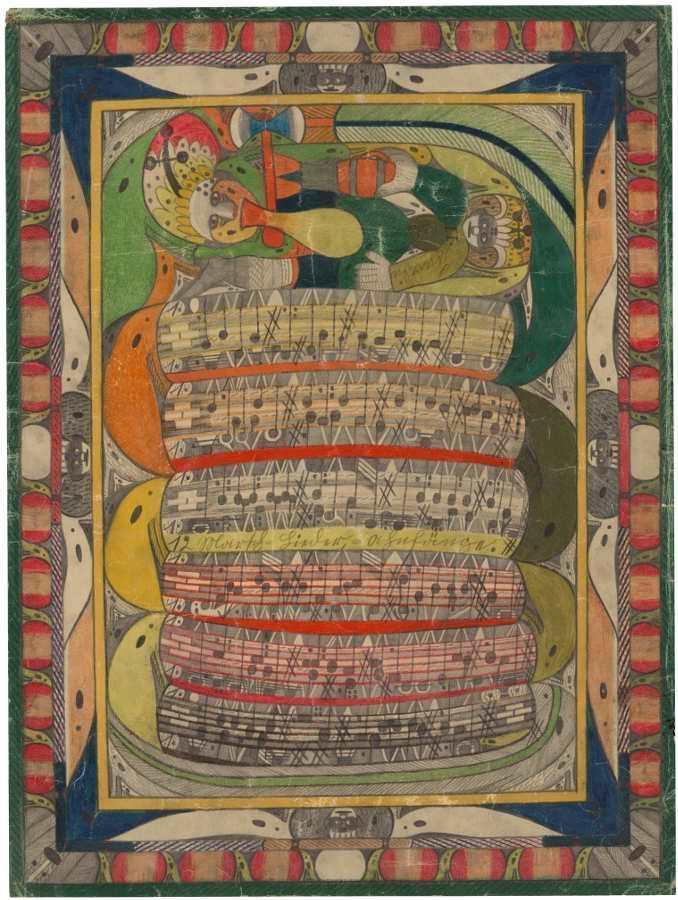 Adolf Wölfli, Symbole und Partitur, 1921, Grafitstift und Farbstift auf Papier (Foto: Marie Humair, AN, Collection de l'Art Brut, Lausanne)