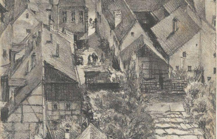 Adolph Menzel (1815–1905), Blick über die Dächer von Schandau, Detail, 1880, Grafit auf Papier, 210 x 130 mm (© Privatsammlung in der Hamburger Kunsthalle, Foto: Christoph Irrgang)
