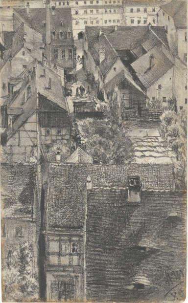 Adolph Menzel (1815–1905), Blick über die Dächer von Schandau, 1880, Grafit auf Papier, 210 x 130 mm (© Privatsammlung in der Hamburger Kunsthalle, Foto: Christoph Irrgang)
