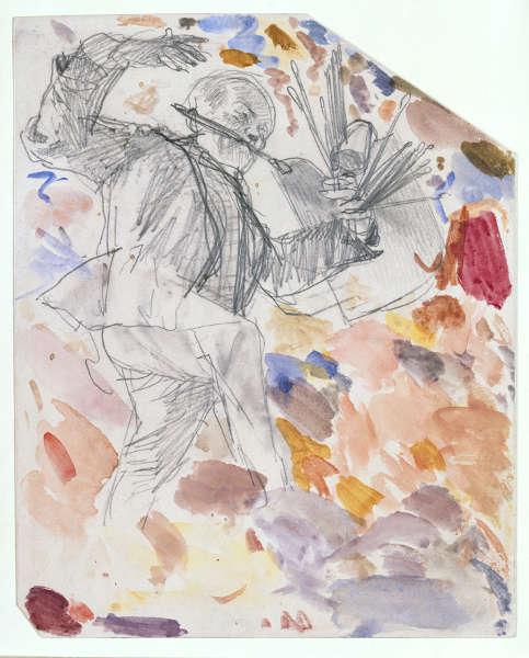 """Adolph Menzel, Ein tanzender Maler (Selbstbildnis), flüchtige Skizze zu """"Kronprinz Friedrich besucht den Maler Antoine Pesne während der Arbeit auf dem Gerüst"""", um 1861 (© Staatliche Museen zu Berlin, Kupferstichkabinett / Jörg P. Anders)"""