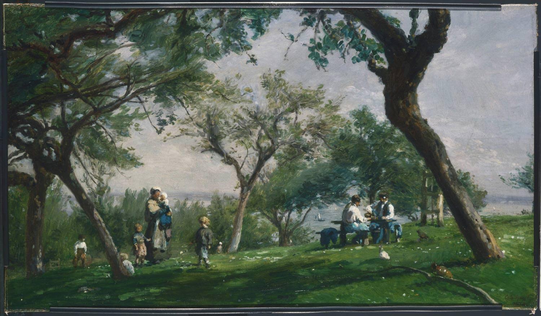Adolphe-Félix Cals, Paysage, à Saint-Siméon [Landschaft in Saint-Siméon], 1876, Öl auf Leinwand, 36 x 62.5 cm (Philadelphia Museum of Art, John G. Johnson Collection, 1917)