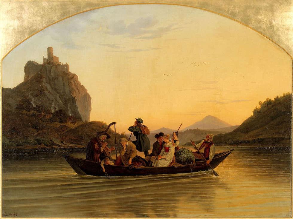 Adrian Ludwig Richter, Die Überfahrt am Schreckenstein, 1837 (SKD, Dresden)