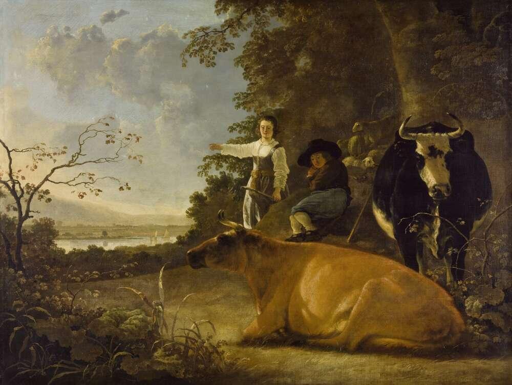 Aelbert Cuyp, Landschaft mit Hirten und Kühen, 1650er Jahre, Öl auf Leinwand (Wallraf-Richartz-Museum & Fondation Corboud)