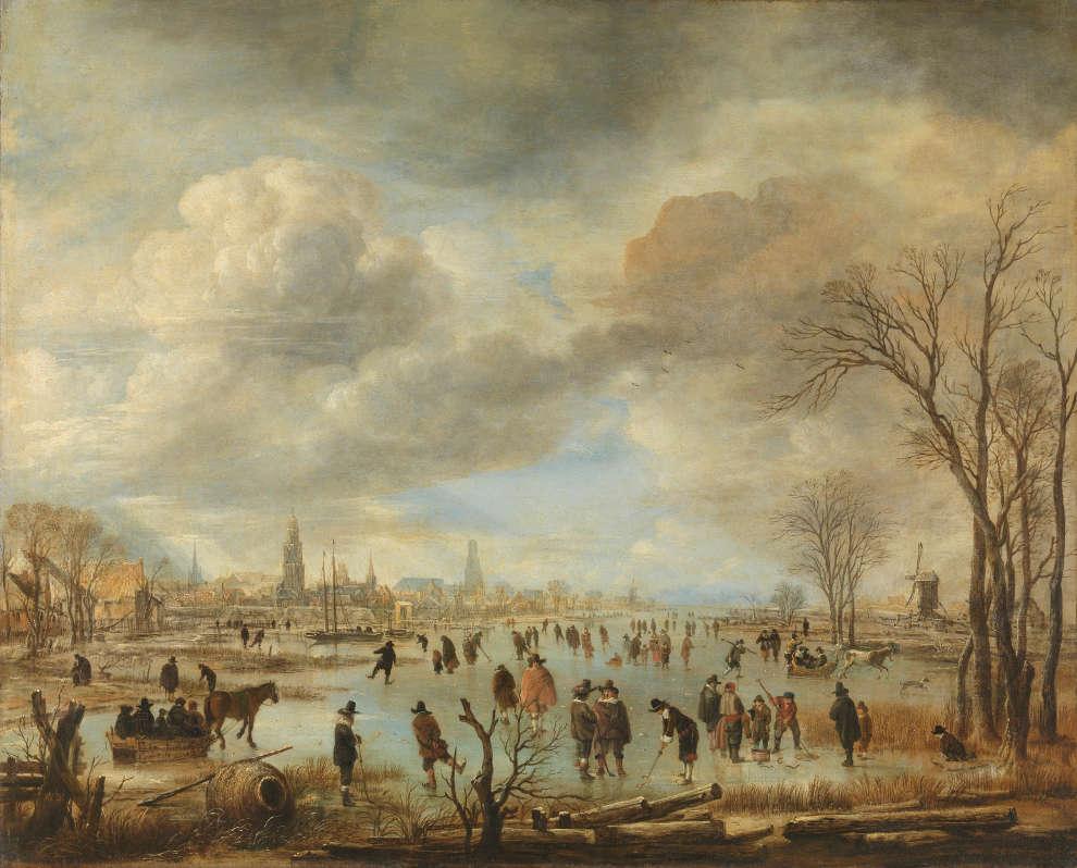 Aert van der Neer, Flussansicht im Winter, um 1655–1660, Öl/Lw, 64 × 79 cm (Rijksmuseum, Amsterdam)