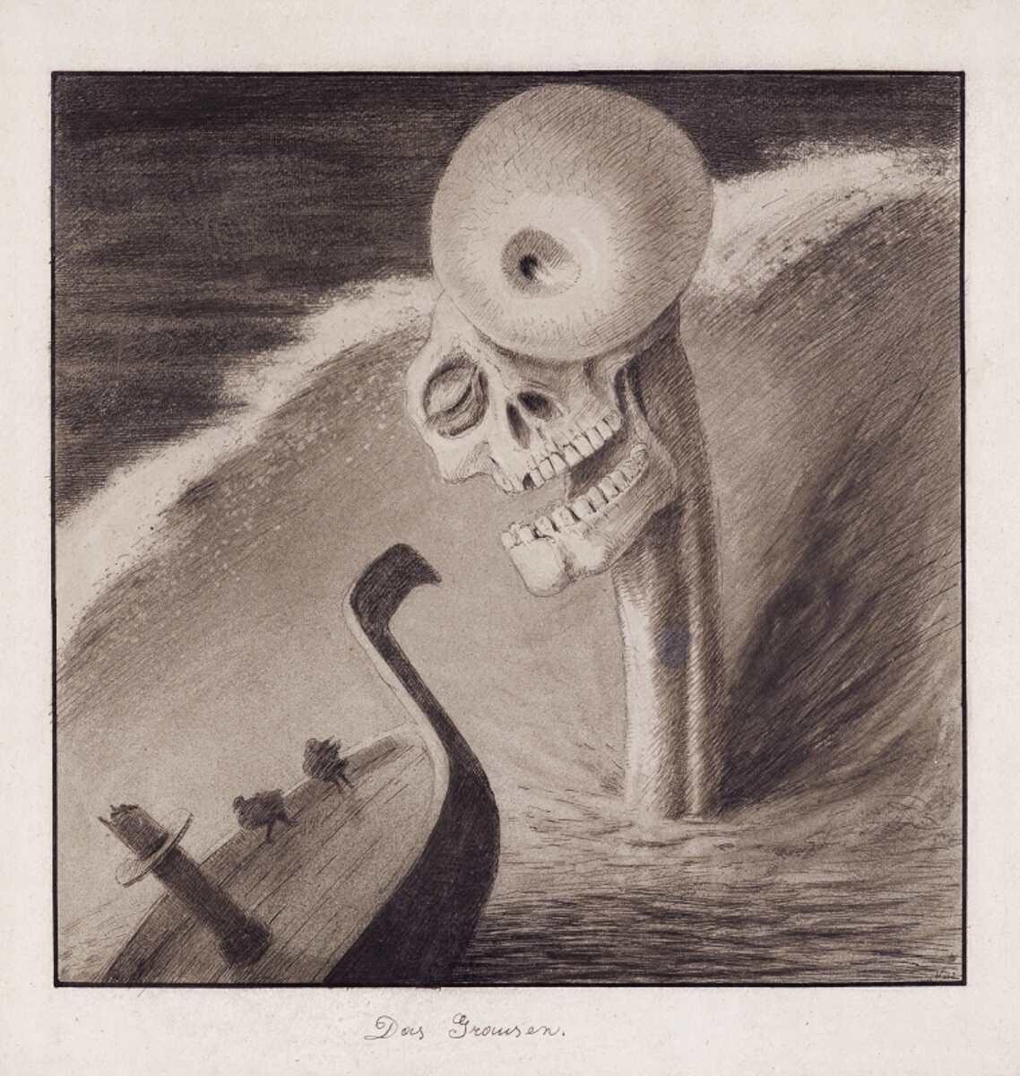 """Afred Kubin, """"Das Grausen"""", um 1902, Tusche, Feder (laviert), Spritztechnik auf Katasterpapier, 32,6 × 31,1 cm (Leopold Museum, Wien, © Eberhard Spangenberg/Bildrecht, Wien, 2016)"""