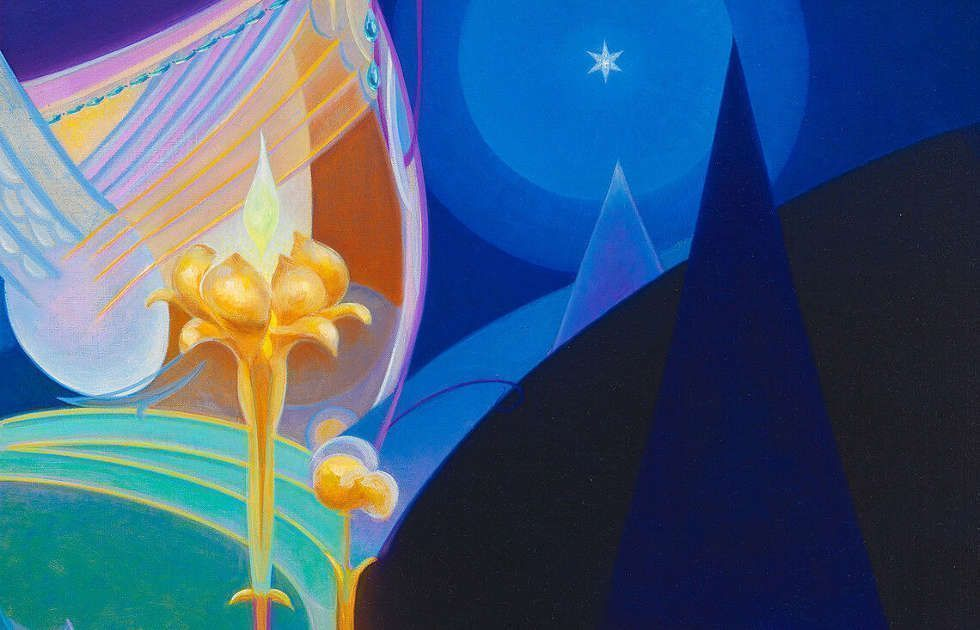 Agnes Pelton, Untitled, Detail, 1931, Öl/Lw, 91.9 × 61.4 cm (Whitney Museum of American Art, New York; purchase, with funds from the Modern Painting and Sculpture Committee 96.175)