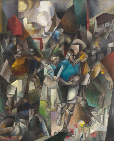 Albert Gleizes, Die Footballspieler, 1912–1913, Öl auf Leinwand, 225,4 x 183 cm (© National Gallery of Art, Washington, Ailsa Mellon Bruce Fund)