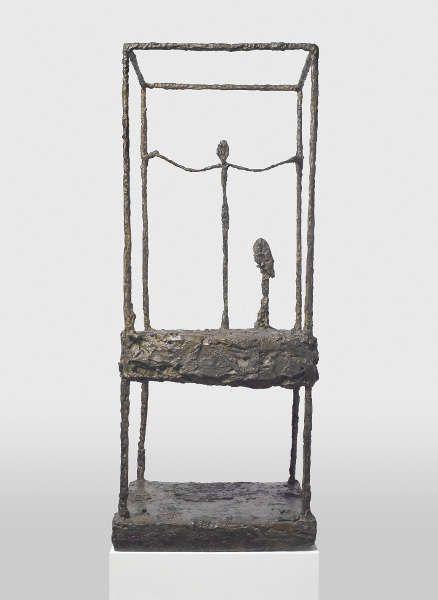 Alberto Giacometti, La cage (première version) [Der Käfig (erste Version)], 1950, Bronze, 90.6 x 37.6 x 34.3 cm (Fondation Beyeler, Riehen/Basel, Sammlung Beyeler © Succession Alberto Giacometti / 2018, ProLitteris, Zurich, Photo: Peter Schibli)