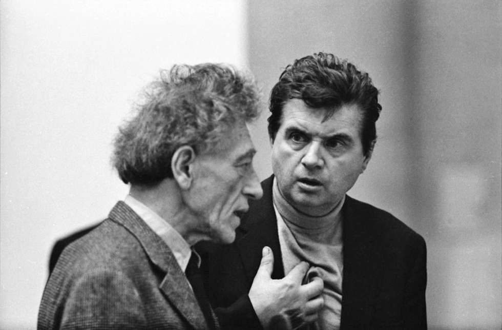 Alberto Giacometti und Francis Bacon, London 1965, Silbergelatineabzug (© Graham Keen)