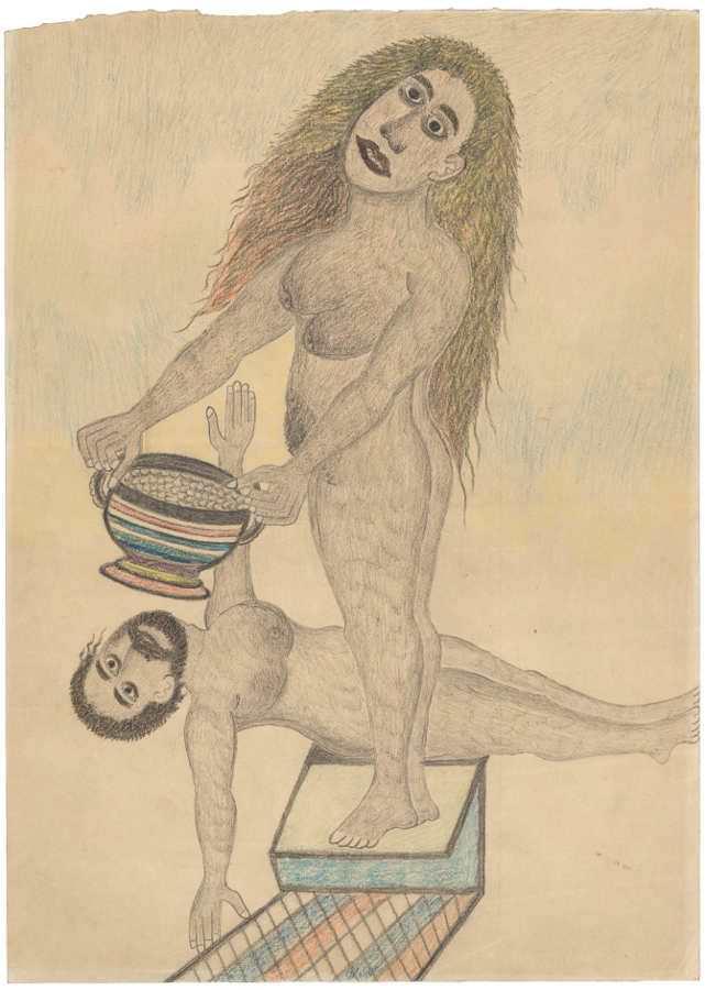 Albino Braz, Frau, ihrem Gatten Lebensmittel bringend, 1934–1949, Grafitstift und Farbstift auf Papier (Foto: Amélie Blanc, AN, Collection de l'Art Brut, Lausanne)