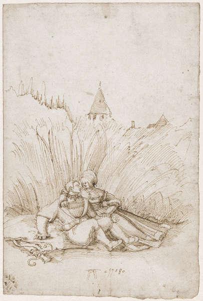 Albrecht Altdorfer, Liebespaar in einem Weizenfeld, 1508, Feder und braune Tinte, 22,1 x 14,9 cm (Basel, Kunstmuseum, Kupferstichkabinett © Kunstmuseum Basel, Martin P. Bühler)