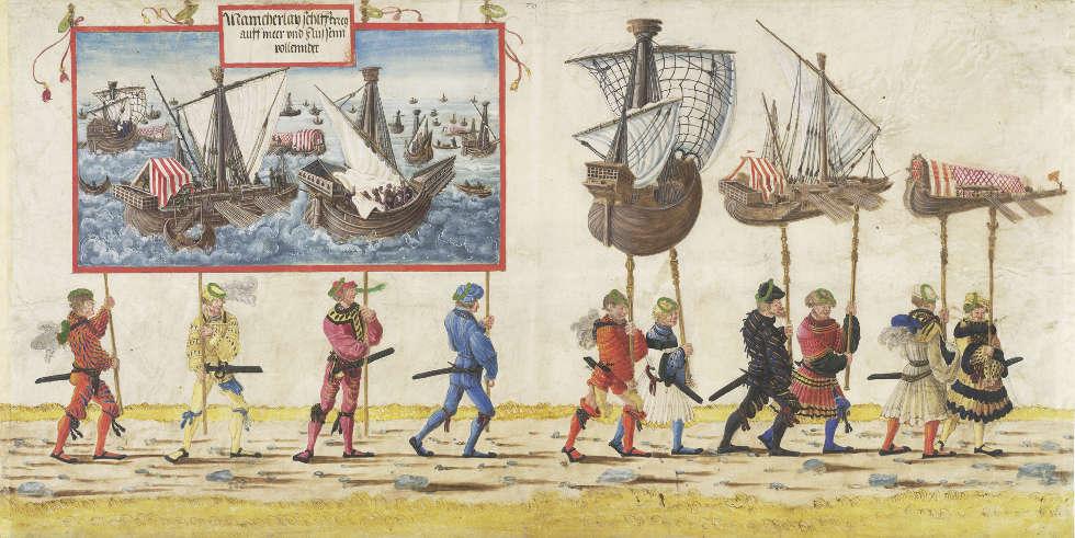 Albrecht Altdorfer und Werkstatt, Triumphzug: Die Schiffsmodelle und die Seekriege, um 1515, Gouache auf Pergament, 45,6 x 88,6 cm (Wien, Albertina © Wien, Albertina Museum)