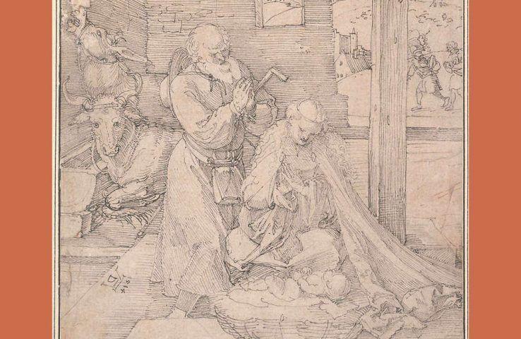 Albrecht Dürer, Geburt Christi, Detail, 1514, Feder in Schwarz, 31,3 x 21,7 cm (Albertina)