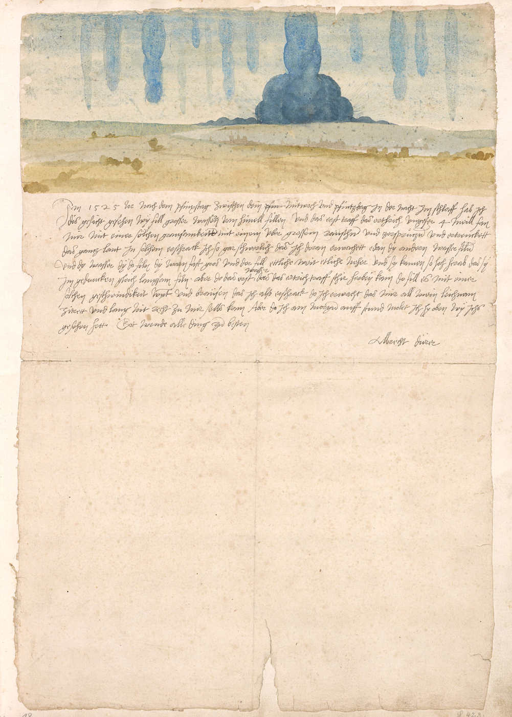 Albrecht Dürer, Traumgesicht, 1525, Aquarell, bezeichnet und signiert, 22,2 × 30,1 cm, in: Kunstbuch Albrecht Dürers (Wien, Kunsthistorisches Museum, Kunstkammer © KHM-Museumsverband)