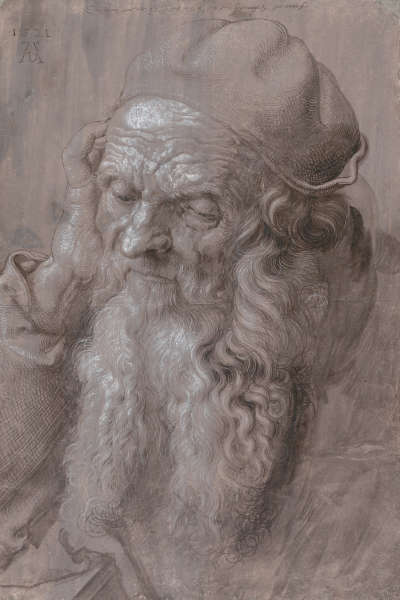 Albrecht Dürer, Bildnis eines 93-jährigen Mannes, 1521, Pinsel in Schwarz und Grau, mit Deckweiß gehöht (© Albertina, Wien)