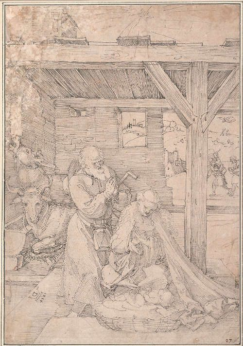 Albrecht Dürer, Geburt Christi, 1514, Feder in Schwarz, 31,3 x 21,7 cm (Albertina)