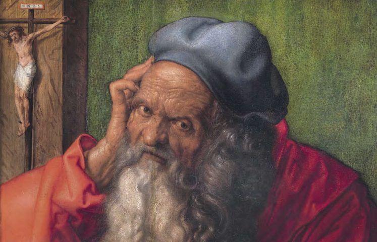 Albrecht Dürer, Hl. Hieronymus, Detail, 1521, Öl auf Holz, 59,5 × 48,5 cm (Museu Nacional de Arte Antiga, Lissabon, Foto: José Pessoa © Museu Nacional de Arte Antiga, Direção-Geral do Património Cultural /Arquivo e Documentação Fotográfica)