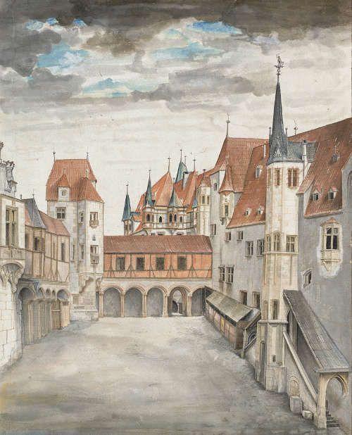 Albrecht Dürer, Hof der Innsbrucker Burg (mit Wolken), um oder nach 1496/97 (Albertina, Wien)