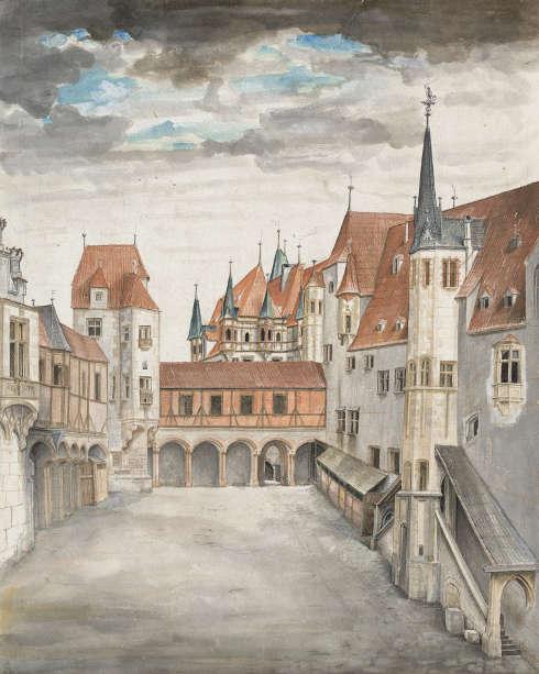 Albrecht Dürer, Innsbruck von Norden, um 1495, Aquarell, Spuren von Deckfarben, mit Deckweiß gehöht (© Albertina, Wien)