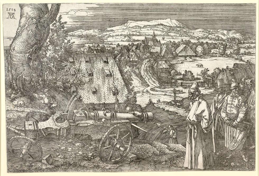Albrecht Dürer, Landschaft mit Kanone (Die große Kanone), 1518, Radierung (Albertina, Wien)