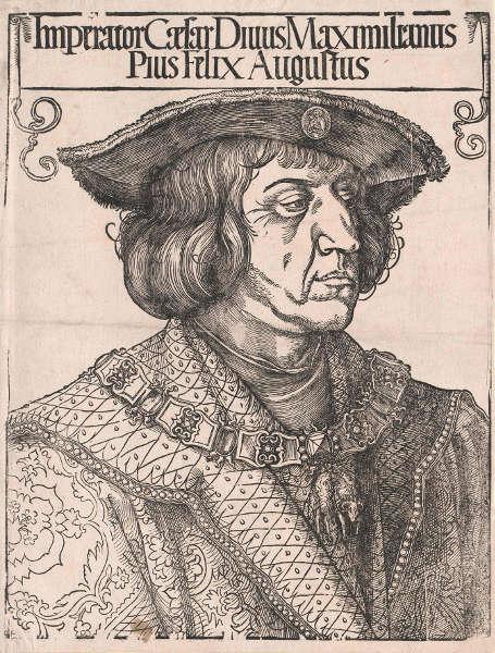 Albrecht Dürer, Maximilian I, 1519, Holzschnitt (© Österreichische Nationalbibliothek)