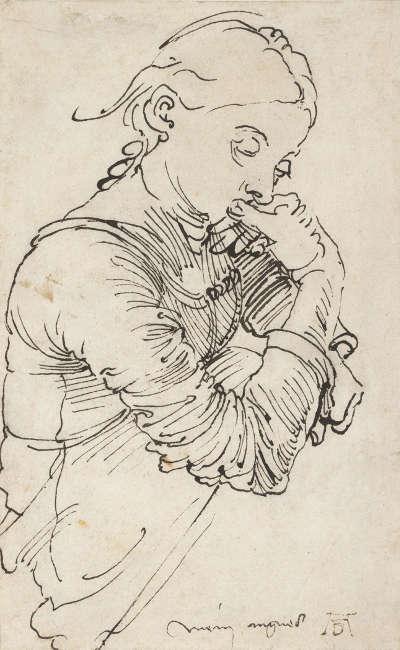 "Albrecht Dürer, ""Mein Agnes"" (Agnes Dürer), 1494, Feder in Schwarz (© Albertina, Wien)"