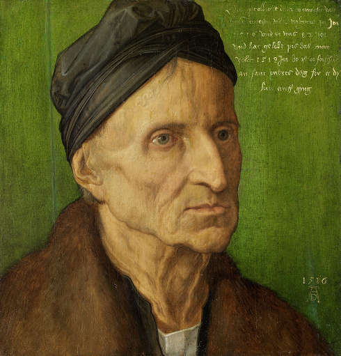 Albrecht Dürer, Bildnis des Nürnberger Malers Michael Wolgemut, 1516, Malerei auf Lindenholz, 29,8 x 28,1 cm (Germanisches Nationalmuseum, Nürnberg, Dauerleihgabe der Bayerischen Staatsgemäldesammlungen München)