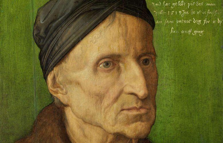 Albrecht Dürer, Bildnis des Nürnberger Malers Michael Wolgemut, Detail, 1516, Malerei auf Lindenholz, 29,8 x 28,1 cm (Germanisches Nationalmuseum, Nürnberg, Dauerleihgabe der Bayerischen Staatsgemäldesammlungen München)