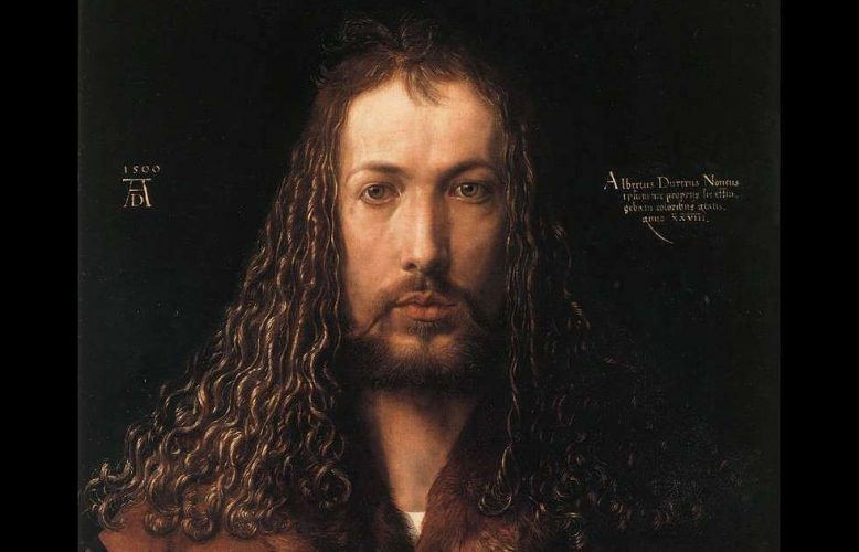 Albrecht Dürer, Selbstbildnis im Pelzrock, Detail, 1500, Öl auf Holz, 67 × 49 cm (Alte Pinakothek, München)