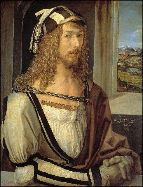 Albrecht Dürer, Selbstporträt mit Landschaft, 1498, Öl/Holz, 52 x 41 cm (Madrid, Museo Nacional del Prado)