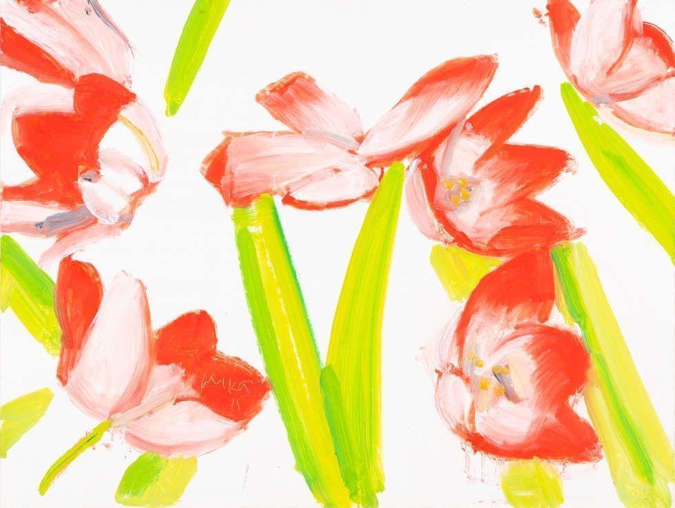 Alex Katz, Flowers 3, 2011, Öl/Hartfaserplatte, 23 x 30,05 cm (Privatsammlung, Foto: Andreas Pauly © Alex Katz, VG Bild-Kunst, Bonn 2018)