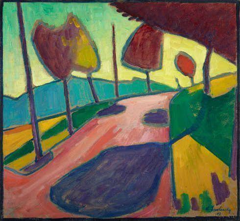 Alexej von Jawlensky, Murnauer Landschaft, 1909, Öl auf Pappe, 50,4 cm x 54,5 cm (Städtische Galerie im Lenbachhaus und Kunstbau München, Foto: Lenbachhaus)