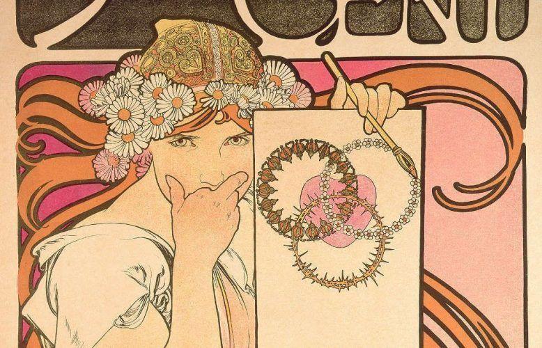 Alfons Mucha, Salon des Cent: exposition de l'oeuvre de Mucha, Detail, 1897, Farblithografie, 66.2 x 46 cm (Fondation Mucha, Prag © Mucha Trust 2018)