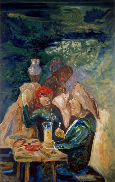 Alfred Klinkan, Das Brouwerlied, 1985, Öl/Lw (Artothek des Bundes, Dauerleihgabe an die Neue Galerie Graz, Foto: J. Koinegg/Neue Galerie Graz)