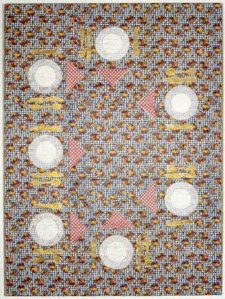 Alfred Klinkan, Gedeck für sieben Zwerge, 1976, Mischtechnik auf Geschenkpapier, kaschiert auf Karton (Neue Galerie Graz, Foto: Universalmuseum Joanneum/N. Lackner)